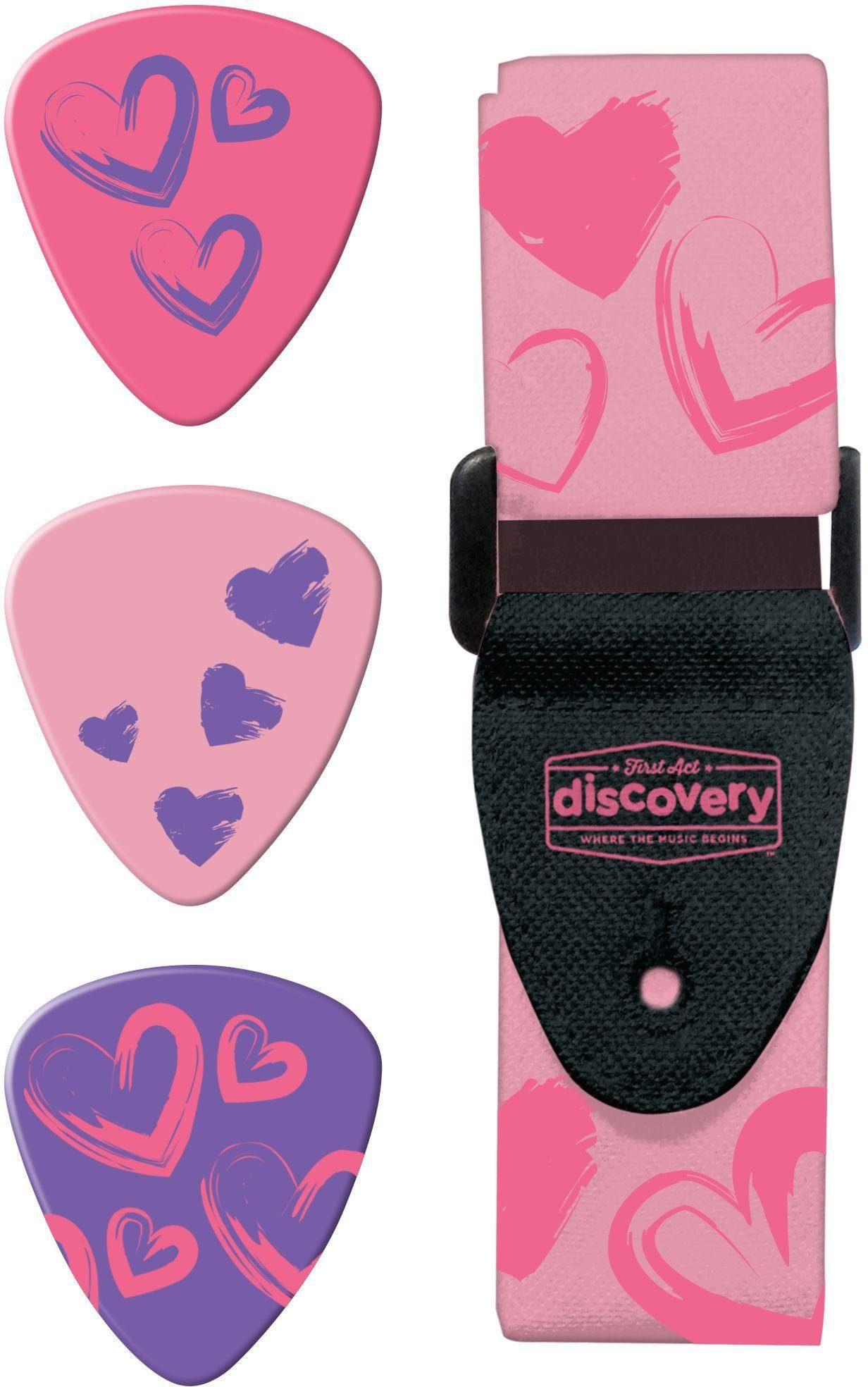 Kinder Gitarrenzubehör Gurt und Plektren, »First Act Discovery, pinke Herzen«