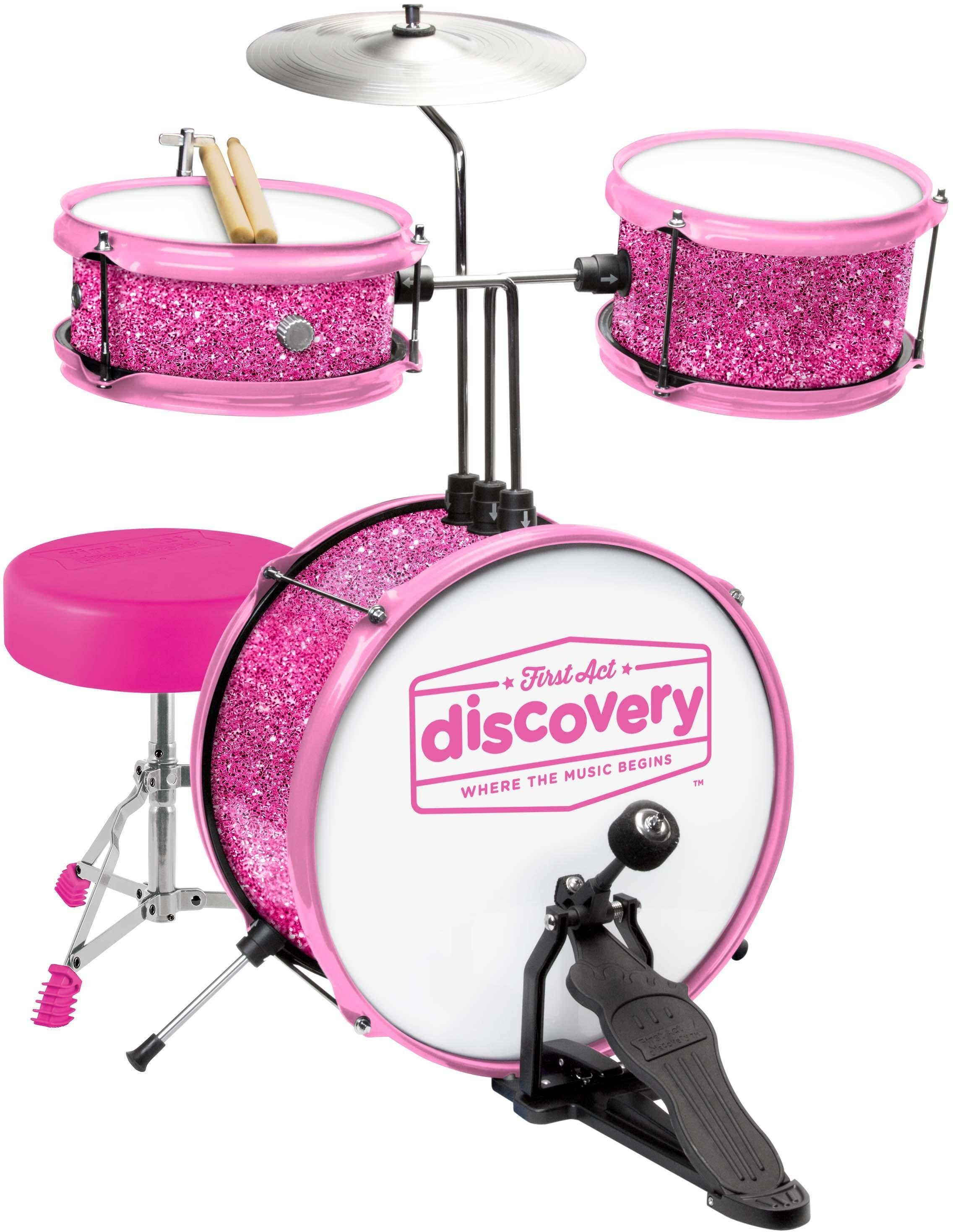 Kinderschlagzeugset mit Sitz, »First Act Discovery, pinkes Glitzerdesign«