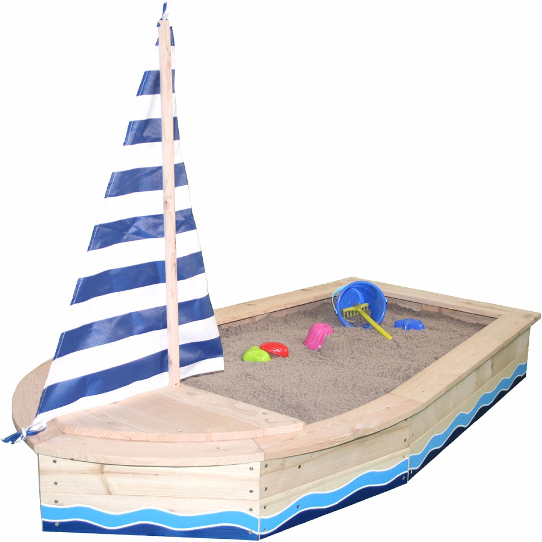 Sun Sandkasten aus Holz, »Bootsform, natur«