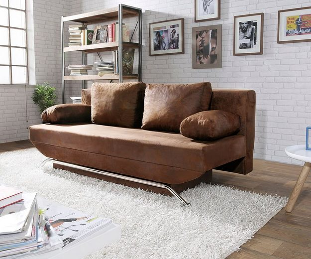 delife schlafcouch cady braun 200x90 cm kaufen otto. Black Bedroom Furniture Sets. Home Design Ideas