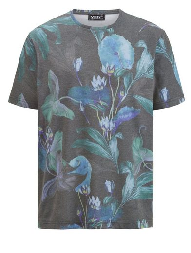 Men Plus by Happy Size T-Shirt Used Look mit Blumen-Print