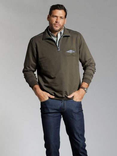 Men Plus By Happy Size Sweatshirt Mit Chambray-elementen