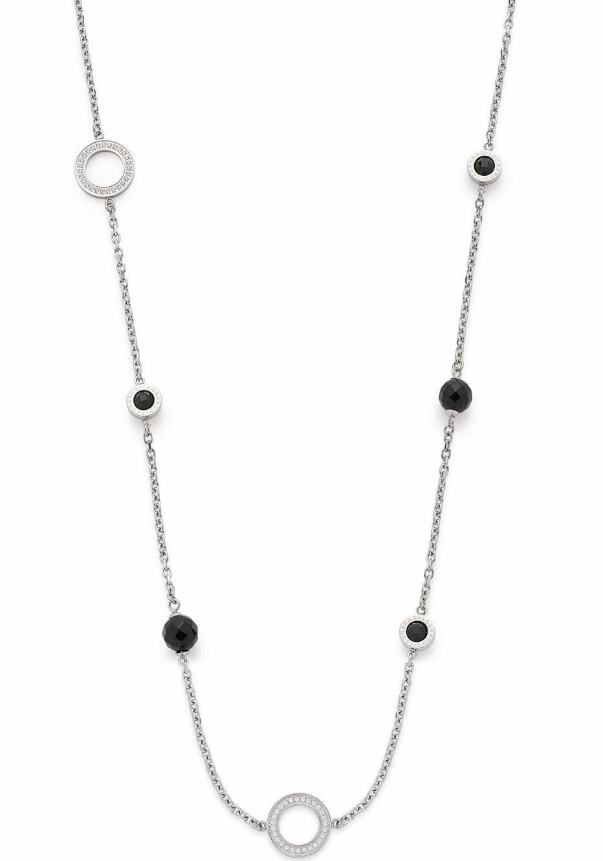 LEONARDO Lange Kette »Schwarz lang Matrix, 016433«, mit Glas- und Kristallsteinen