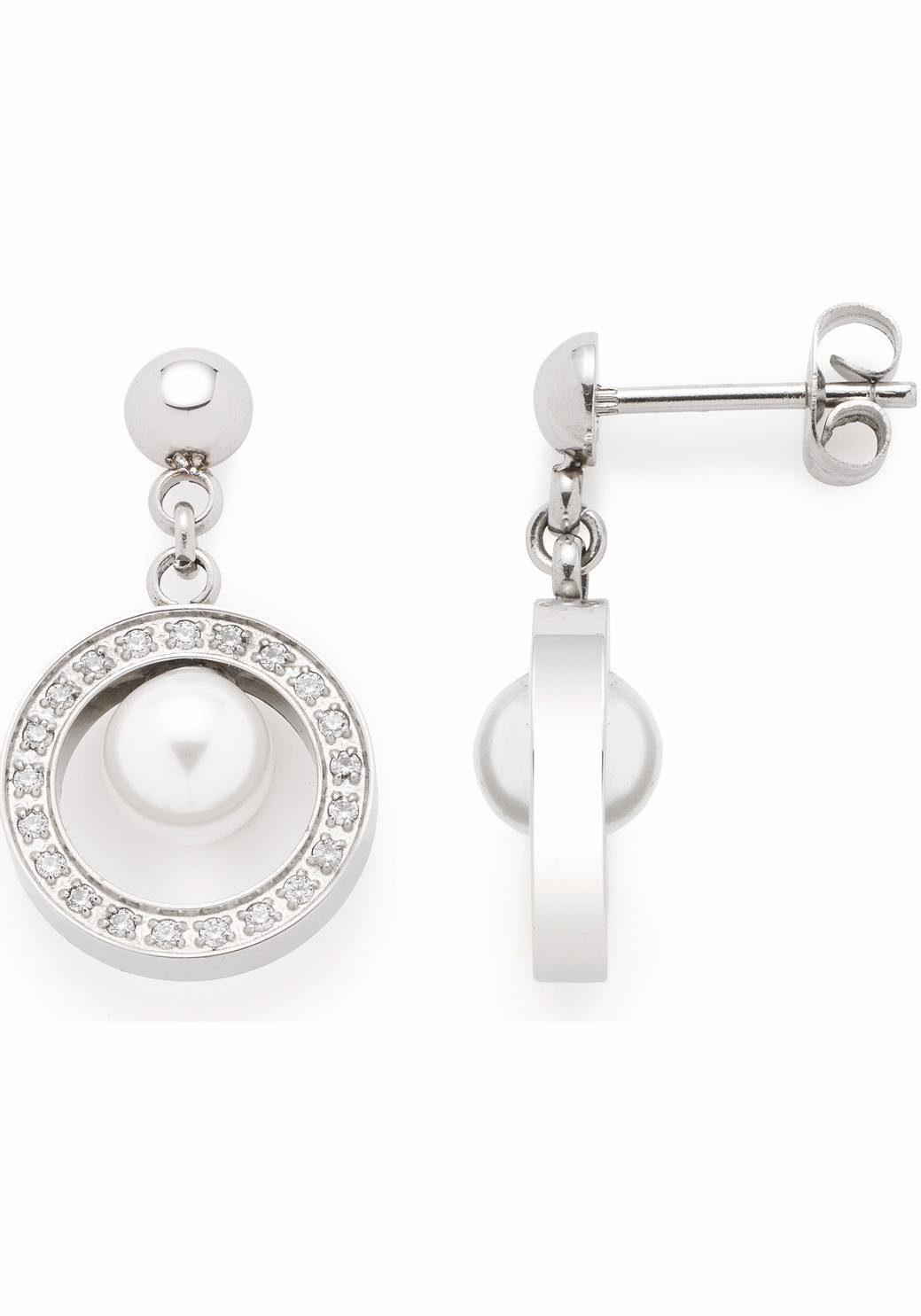 LEONARDO Paar Ohrstecker »Orbita, 016339« mit Perle (imit) und Kristallsteinen