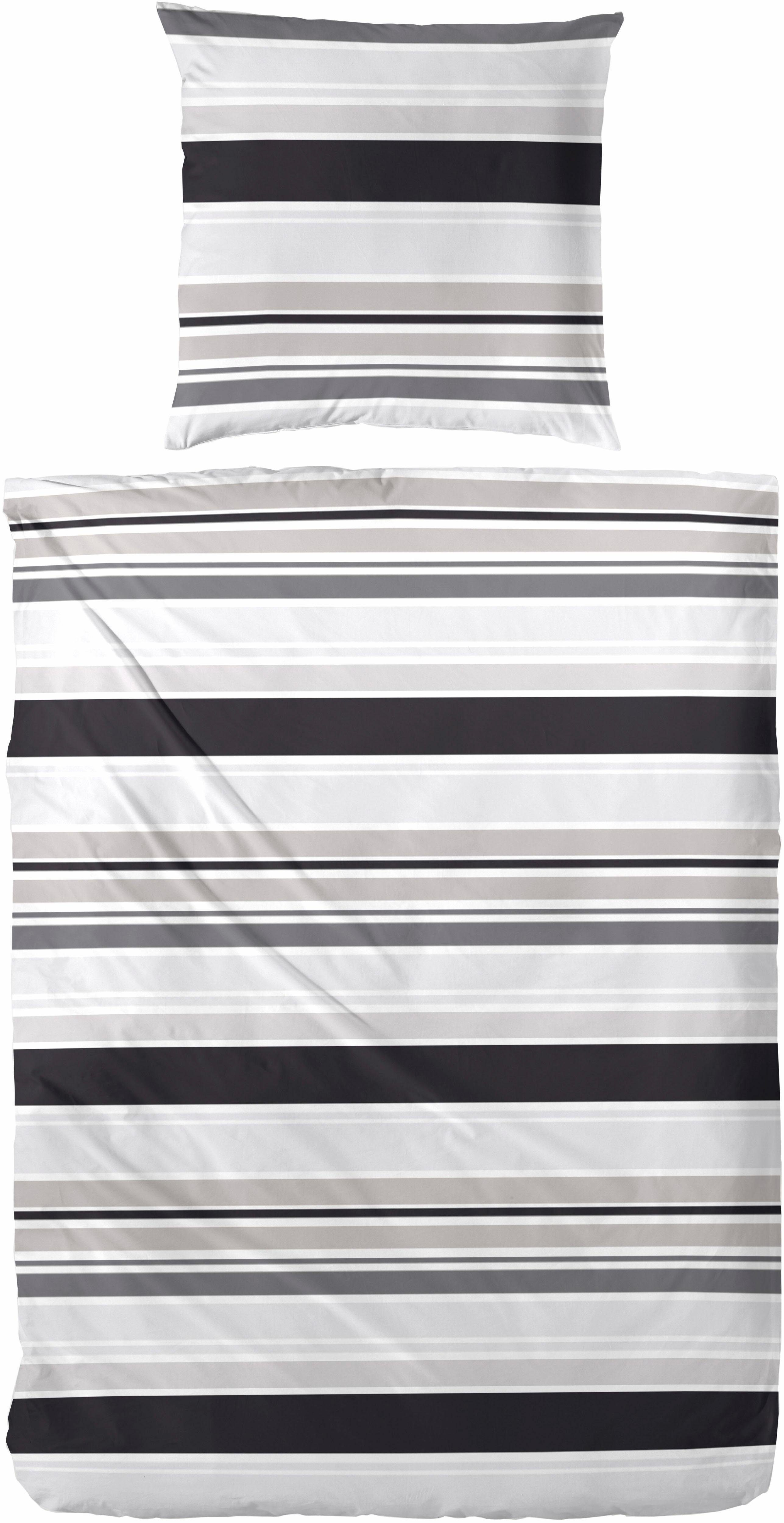 Bettwäsche, Primera, »Grey«, in Streifendesign