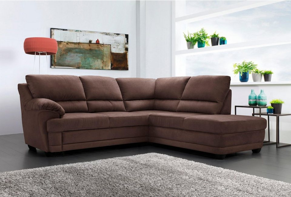 home affaire ecksofa nebolo mit bettfunktion in 3 bezugsqualit ten auch in naturleder. Black Bedroom Furniture Sets. Home Design Ideas