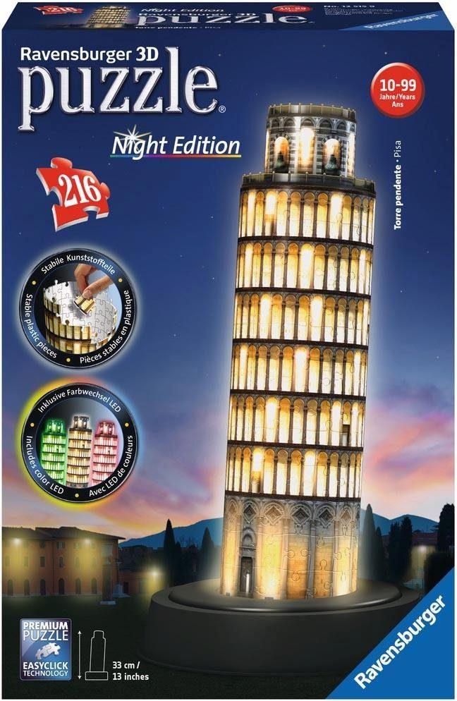 Ravensburger 3D Puzzle, 216 Teile, »Schiefer Turm von Pisa bei Nacht«