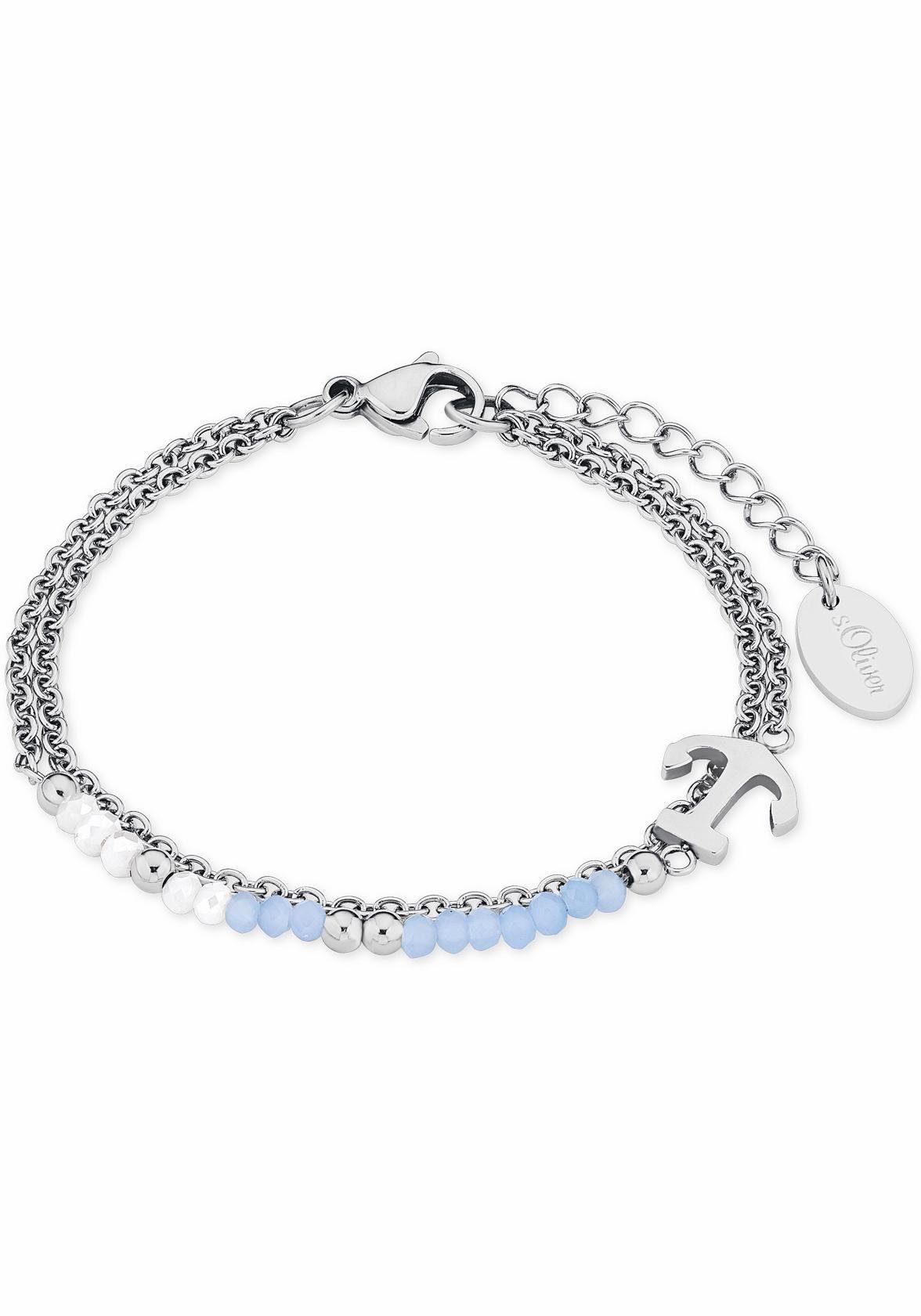 s.Oliver RED LABEL Armband »Anker, 2018340«, mit Glassteinen