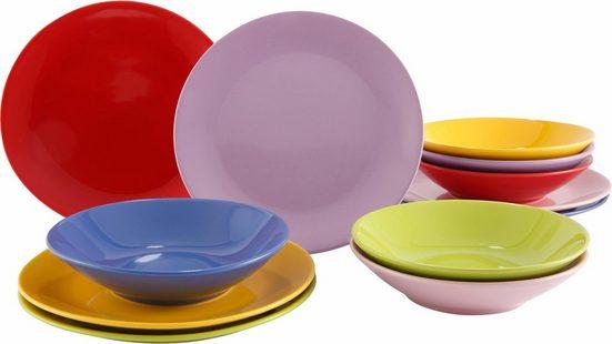 Tafelservice »Color-Mix« (12-tlg), Steingut, Farbmix