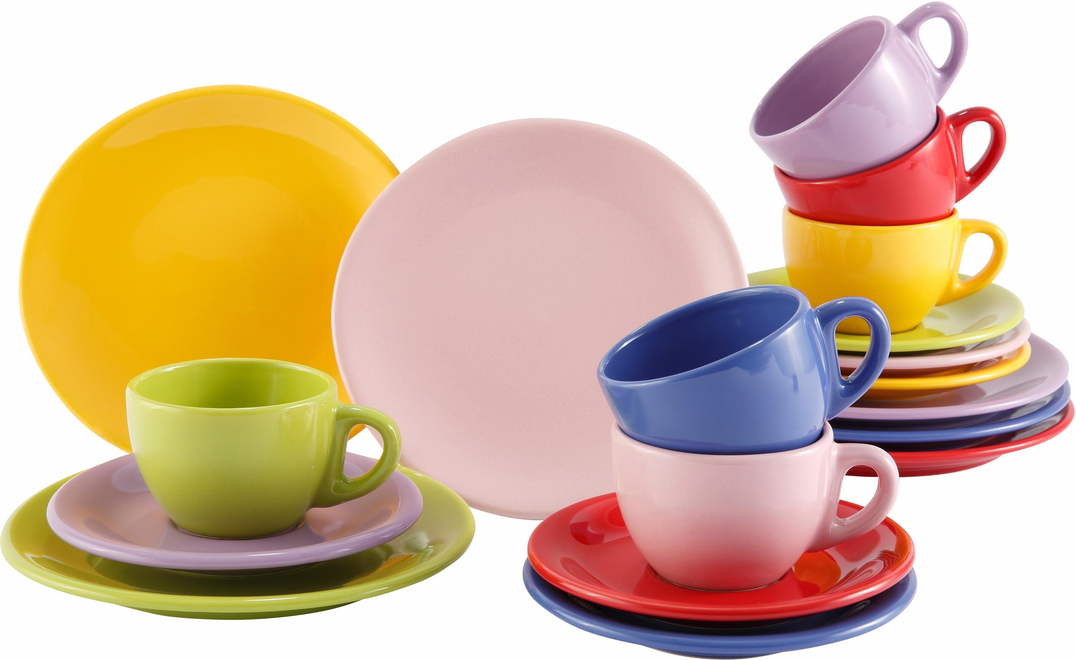 Kaffeeservice, Steingut, 18 Teile, »Color-Mix«