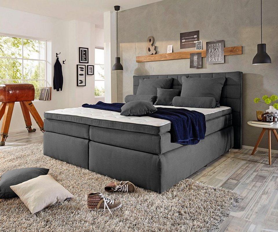 delife boxspringbett isobel anthrazit 180x200 federkern online kaufen otto. Black Bedroom Furniture Sets. Home Design Ideas