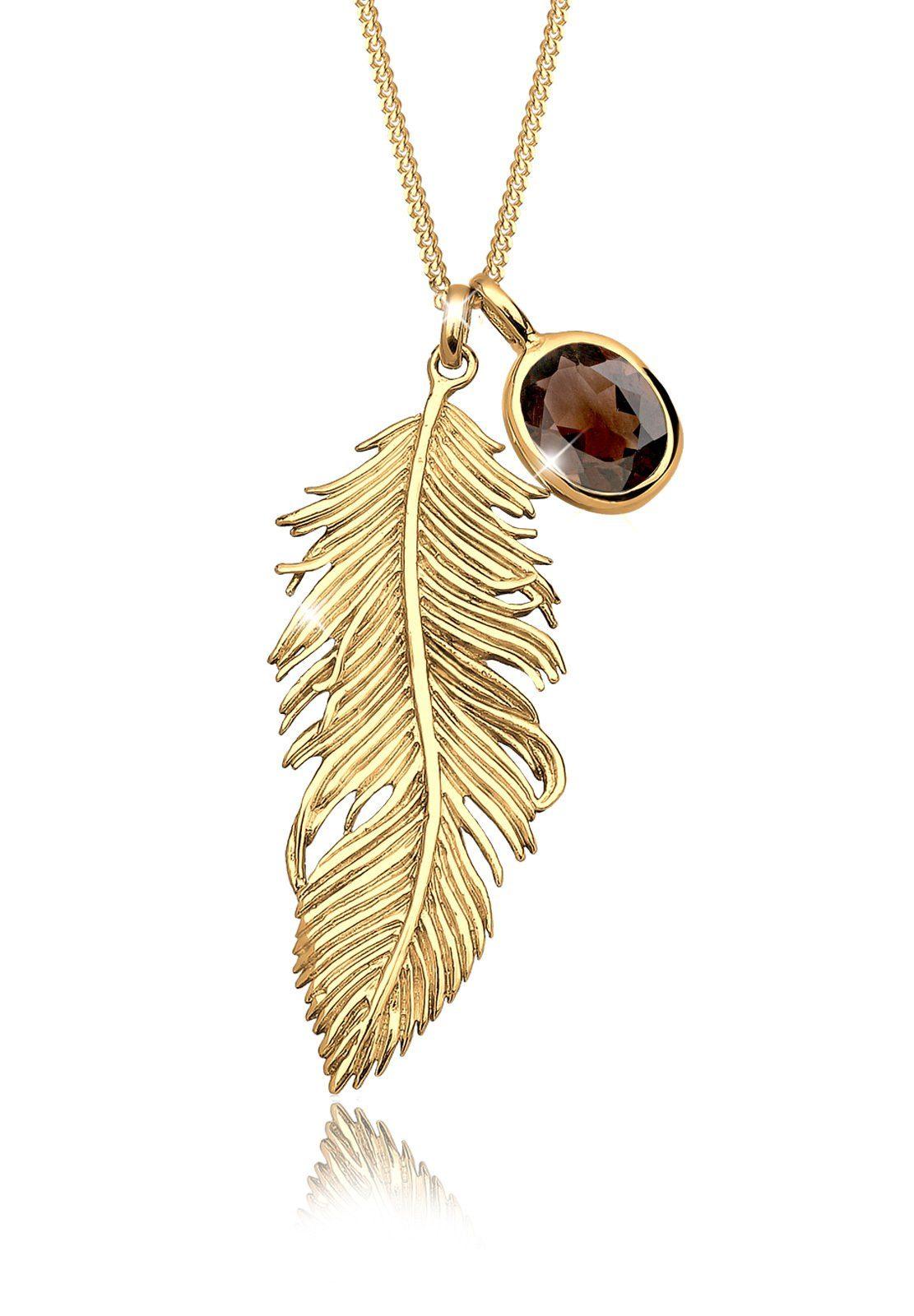 Elli Halskette »Feder Rauchquartz 925 Sterling Silber vergoldet«