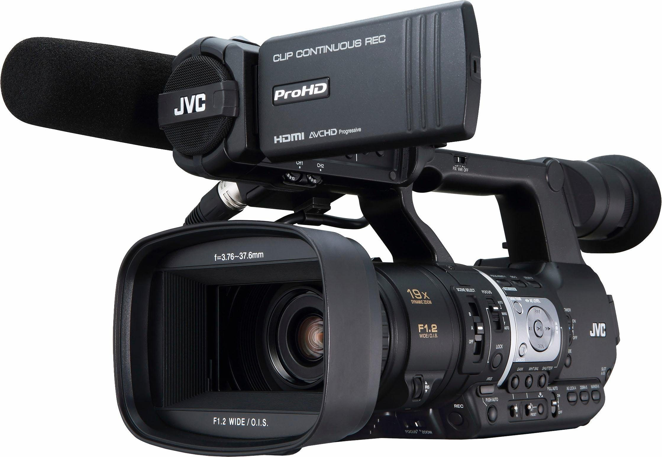 JVC JY-HM360E 1080p (Full HD) Camcorder (Bild mit optionalem Mikrofon)