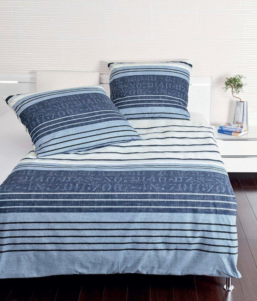 bettw sche janine hansa mit streifen und schriftzug online kaufen otto. Black Bedroom Furniture Sets. Home Design Ideas