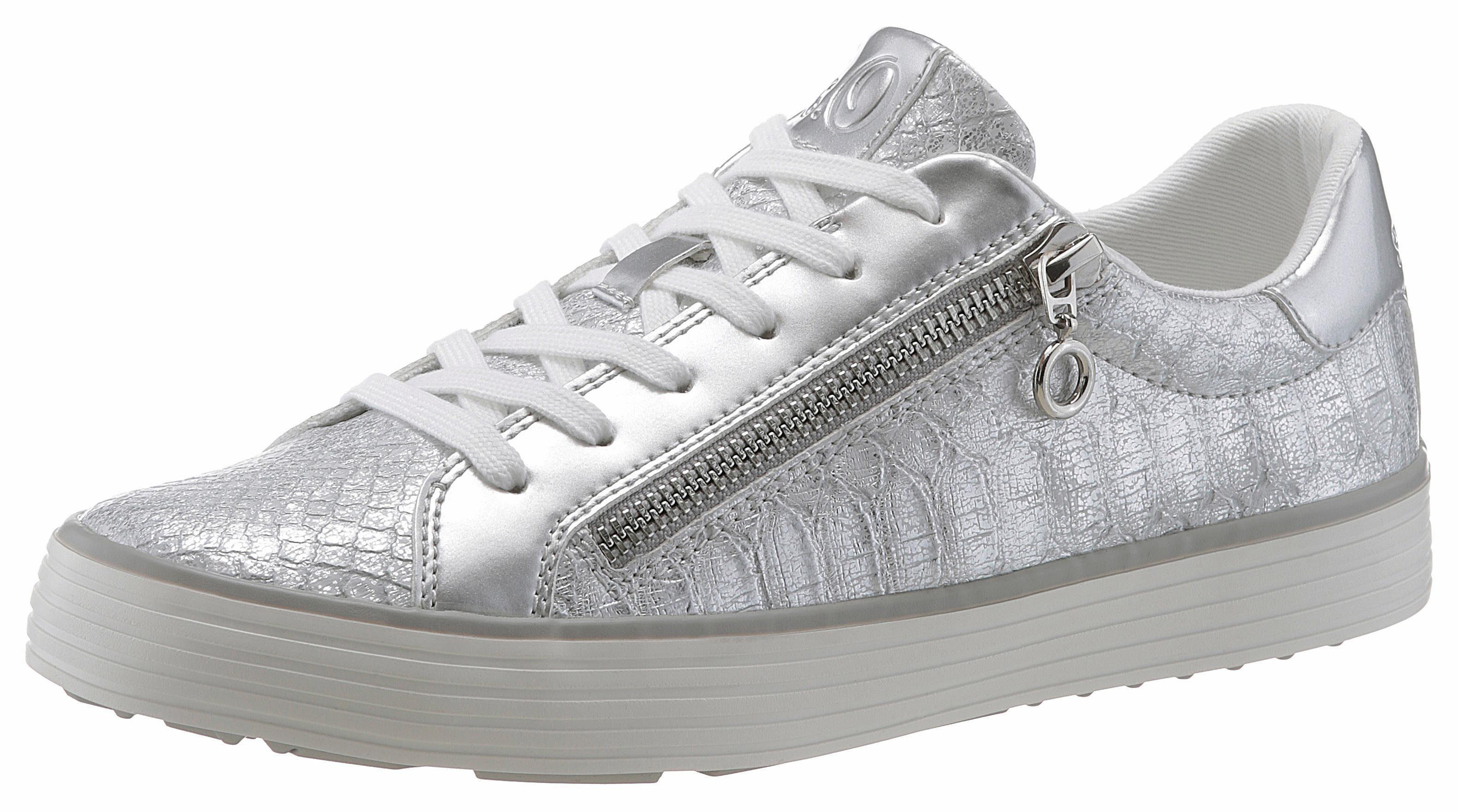 s.Oliver RED LABEL Sneaker, in funkelnder Optik, silber, 41 41