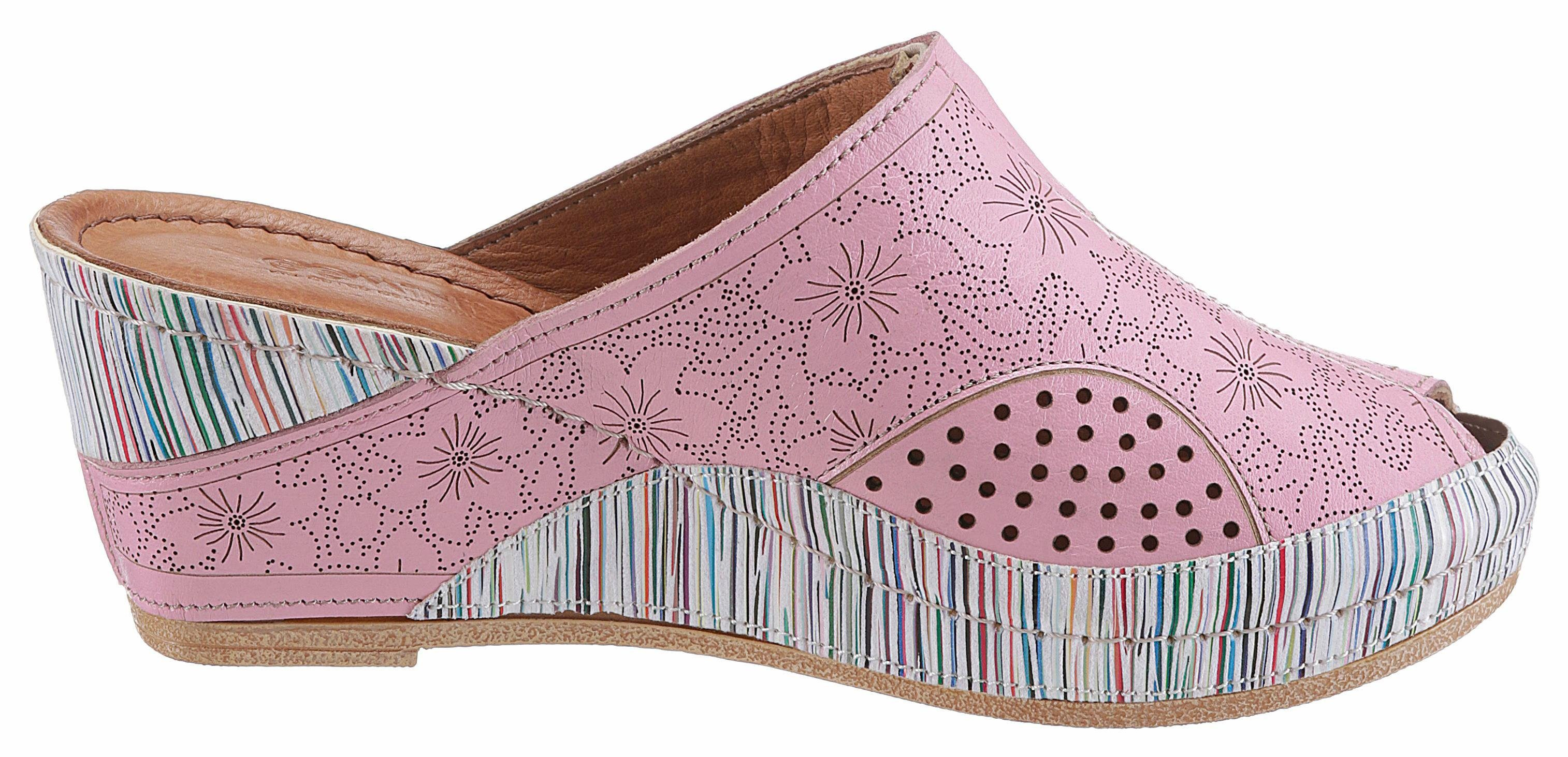 Gemini Clog, Lasercut mit Blüten online kaufen  rosa-bunt