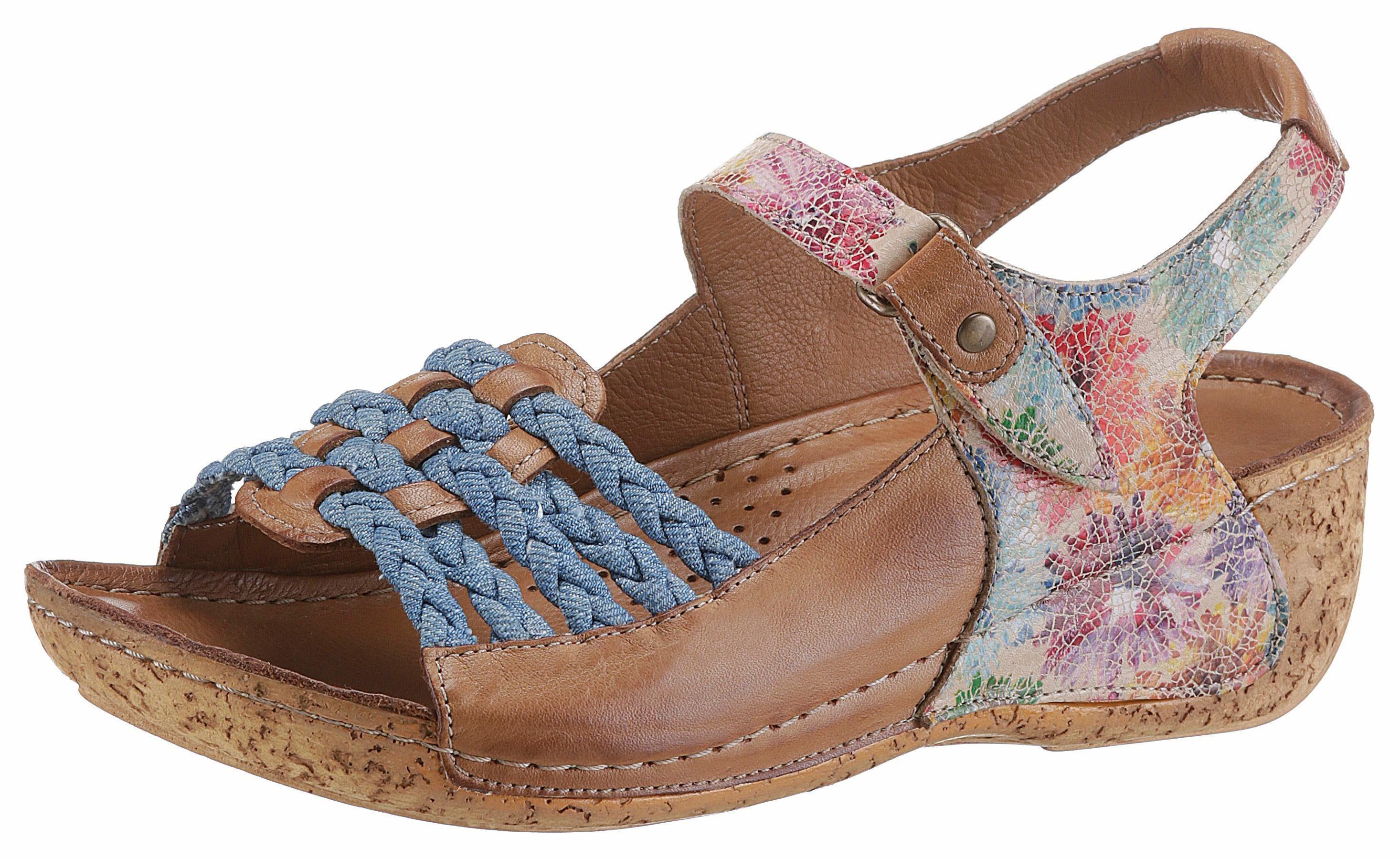 Gemini Sandalette, mit Blumendruck online kaufen  braun-jeansblau