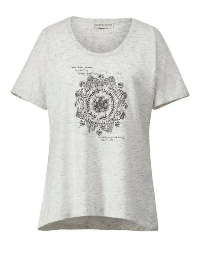 Janet und Joyce by Happy Size Vokuhila-Shirt mit Frontprint