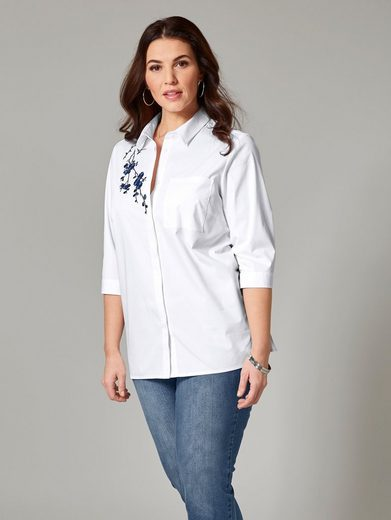 Sara Lindholm by Happy Size Bluse mit Stickerei
