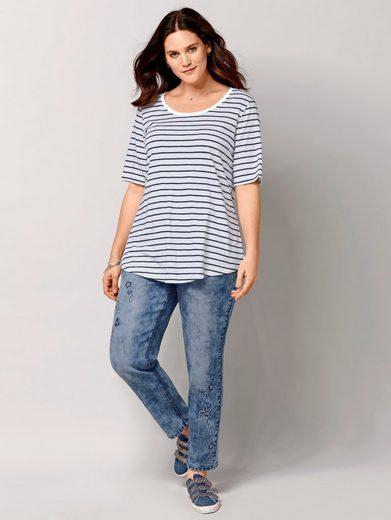 Janet und Joyce by Happy Size 7/8 Slim Fit Jeans mit Stickerei