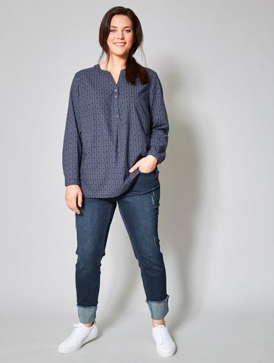 Janet und Joyce by Happy Size 7/8 Slim Fit Jeans mit Umschlag und Fransen