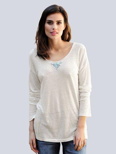 Alba Moda Shirt mit Schmucksteinbesatz am Ausschnitt