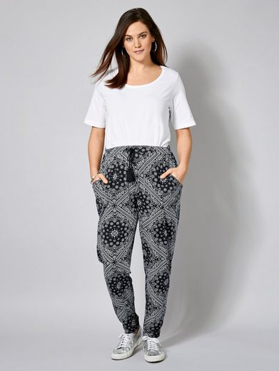 Janet und Joyce by Happy Size Jersey-Hose mit Ornament-Print