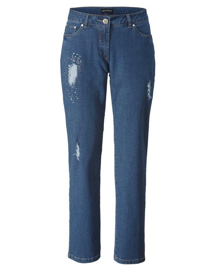 sara lindholm by happy size slim fit jeans mit strass. Black Bedroom Furniture Sets. Home Design Ideas