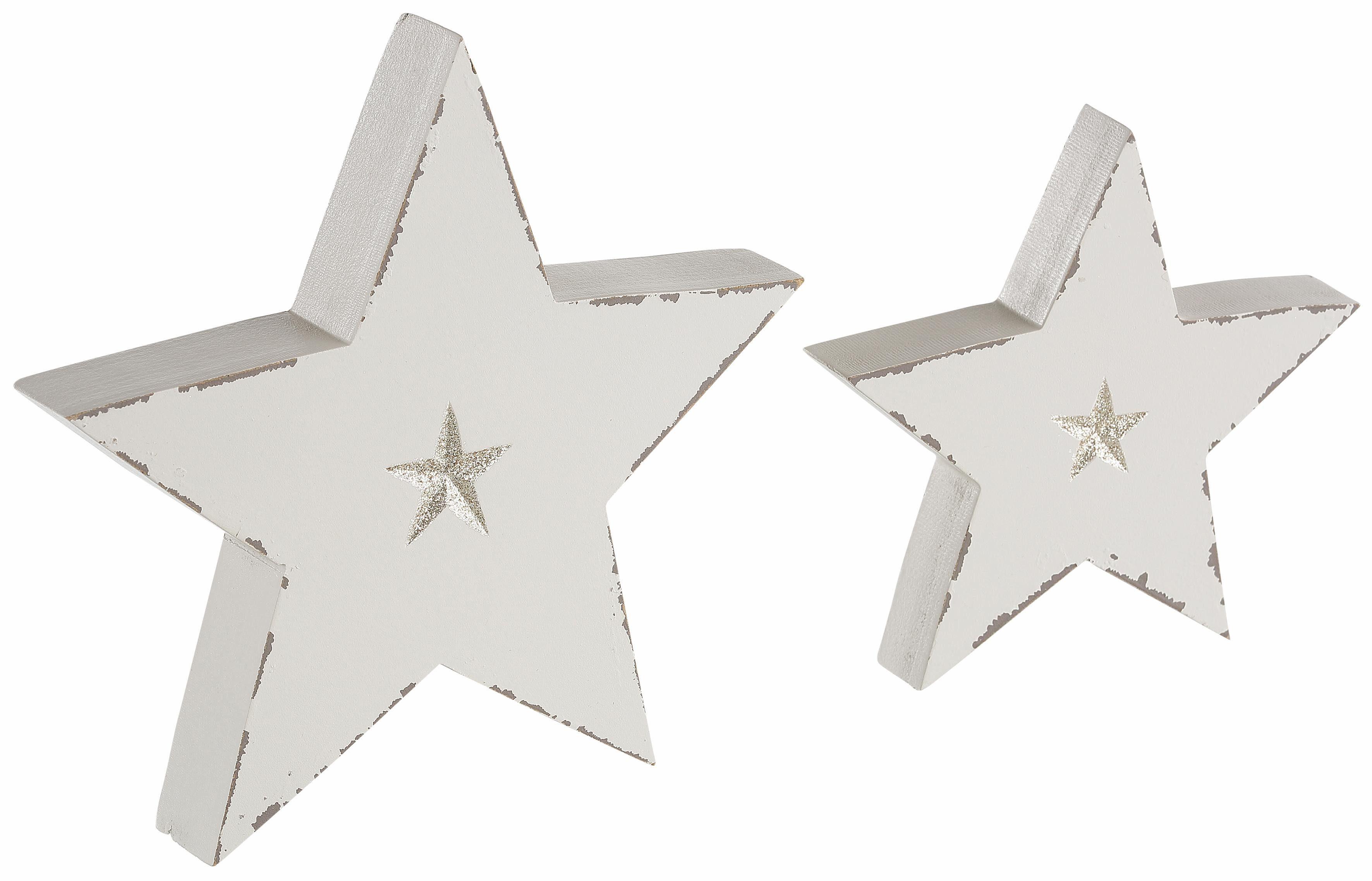 INGE-GLAS® Deko-Stern, 2er Set, leicht antikisiert