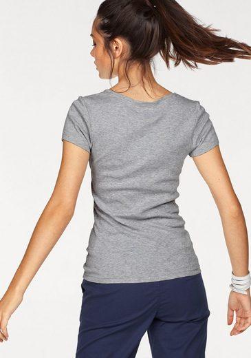 Tom Tailor Polo Team V-Shirt, mit großem Druck und Stickerei