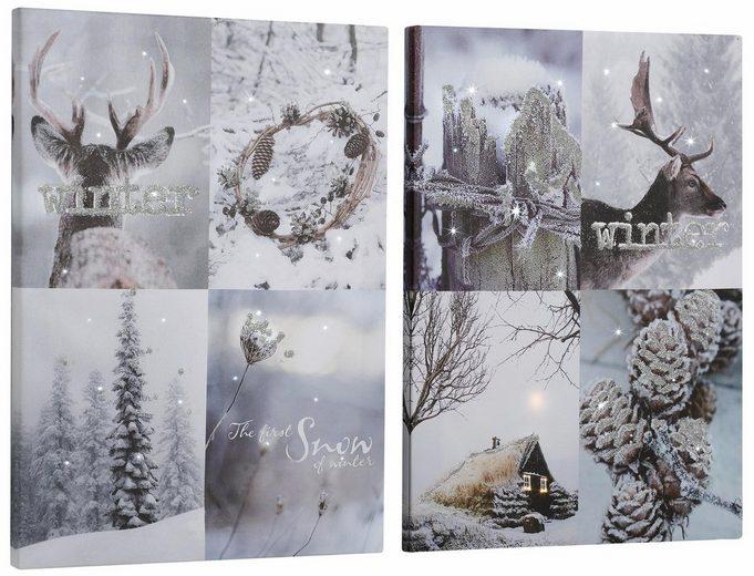 Dreams LED-Bild »Winterlandschaft«, Landschaften (Set, 2 Stück), batteriebetrieben
