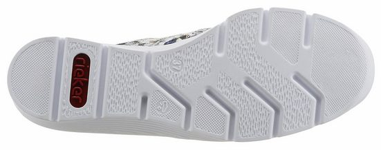 Rieker Slipper, mit Blumendruck in Metallic-Optik
