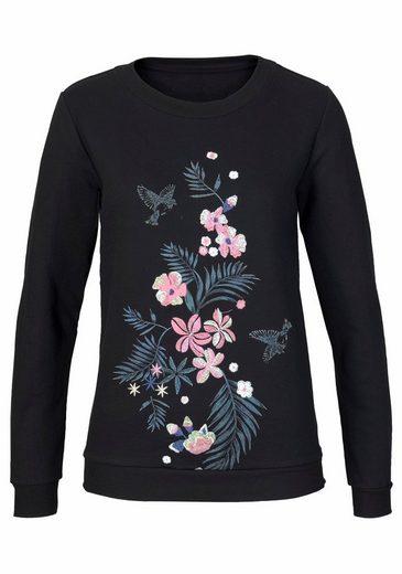 AJC Sweatshirt, mit Blumen Stickerei und Druck vorne