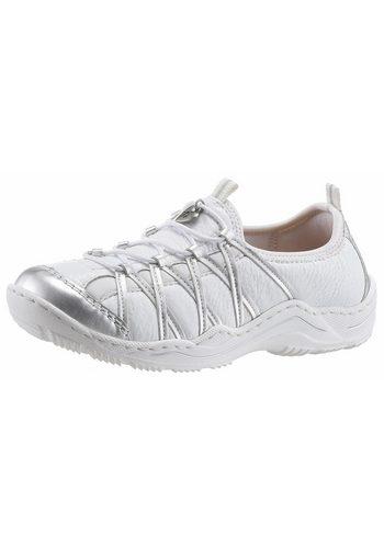 Damen Rieker Slip-On Sneaker mit Gummizug weiß | 04059954986782