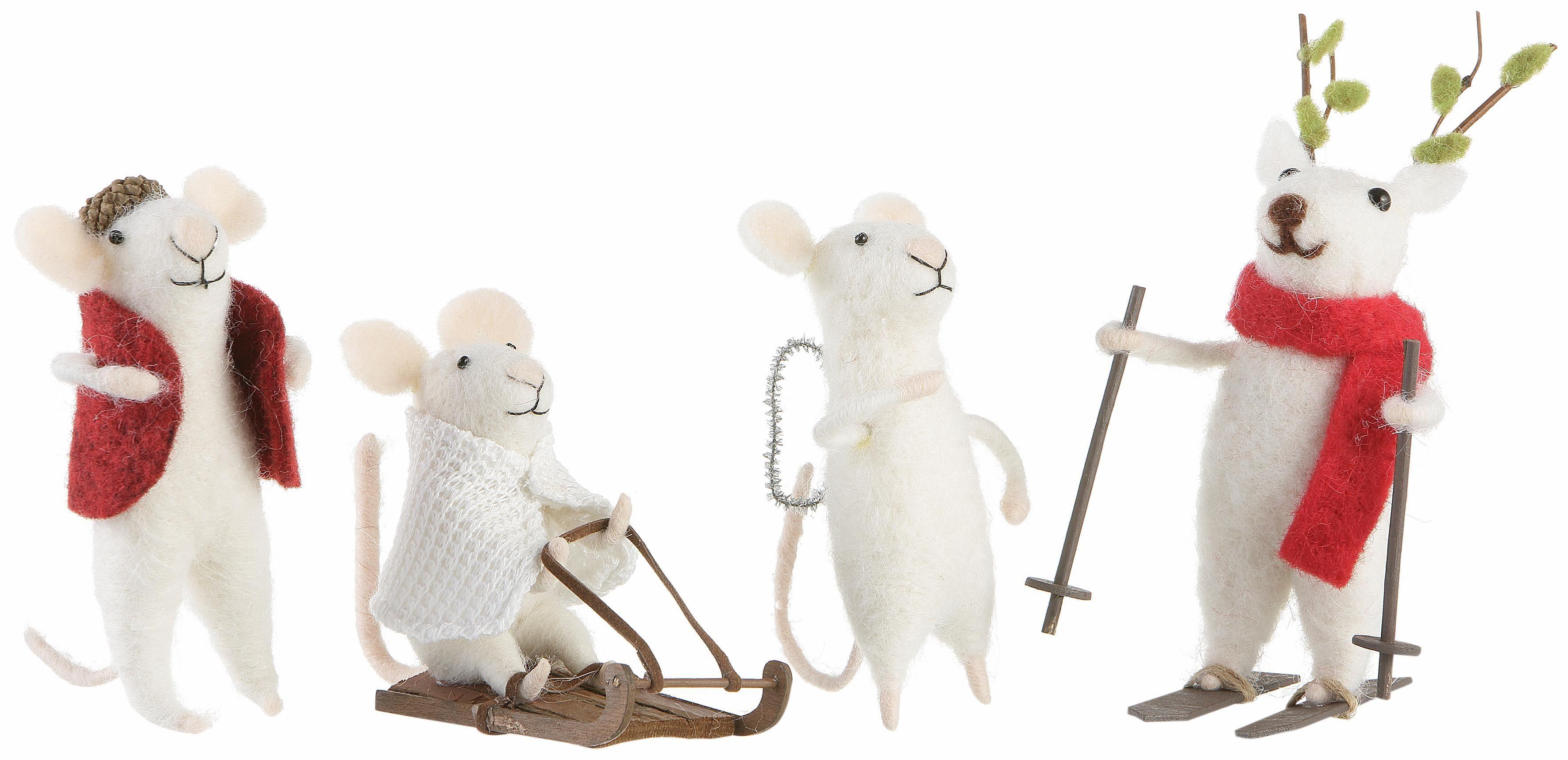 INGE-GLAS® Deko-Mäuse aus Filzwolle, 4er Set
