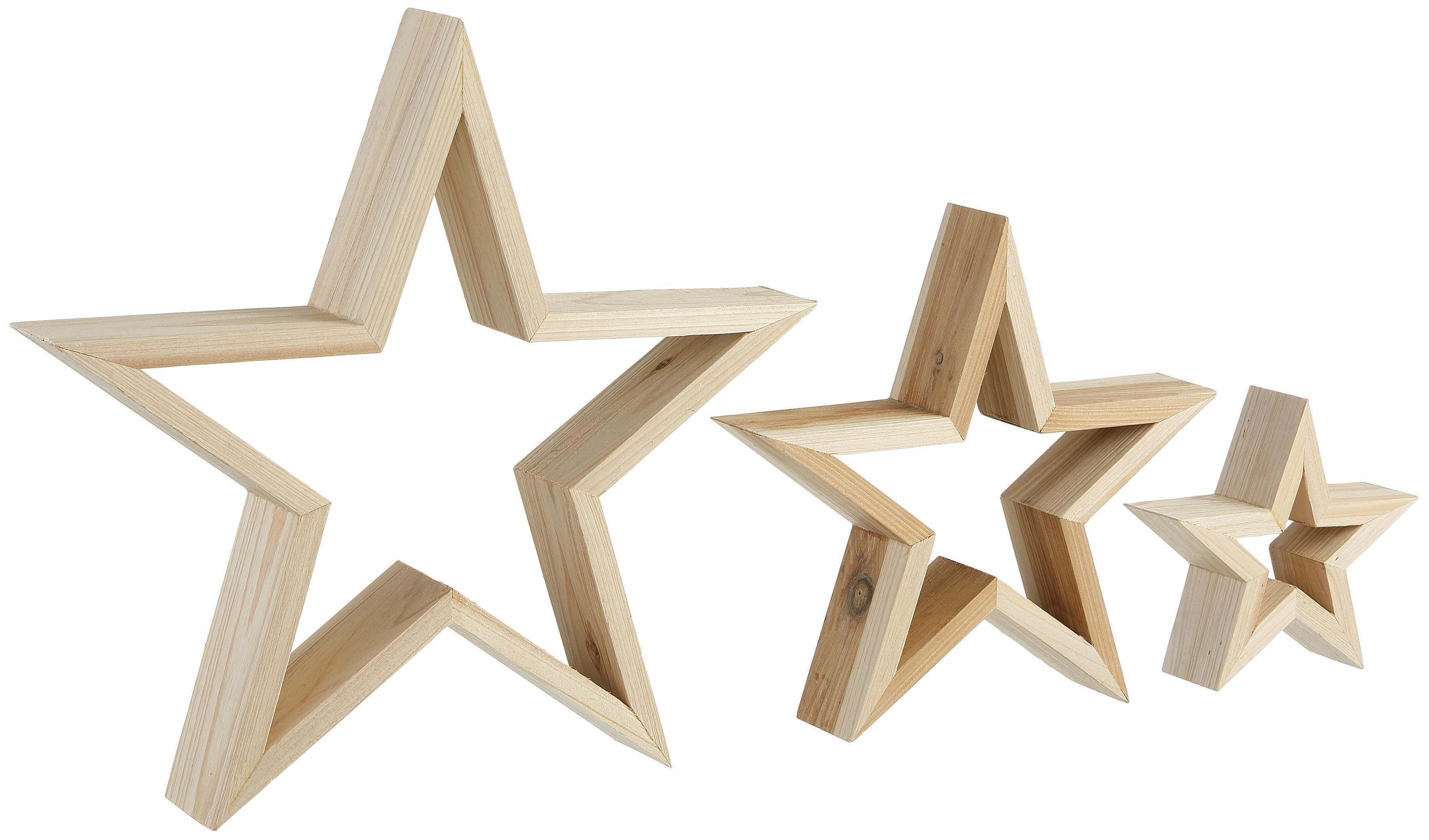 Dekostern, 3 Stück, aus Holz
