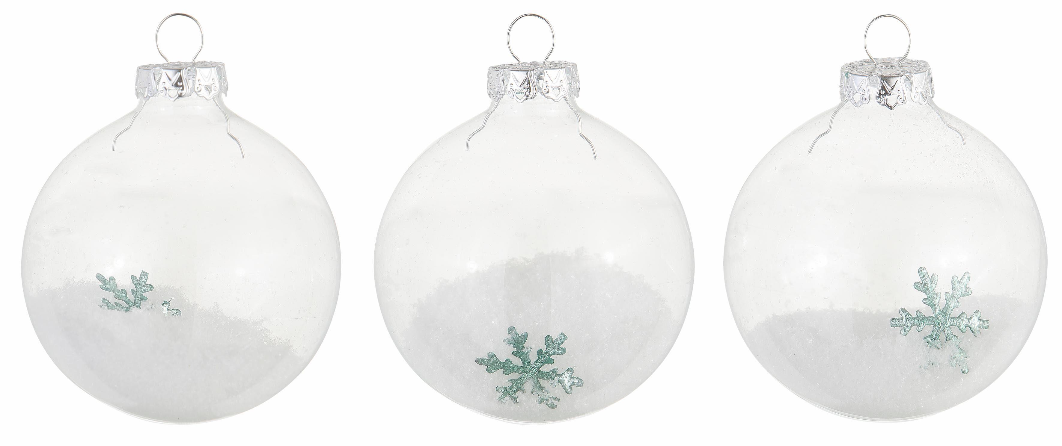 Thüringer Glasdesign TGS-Glaskugeln Transparent mit Schnee (3-teilg)