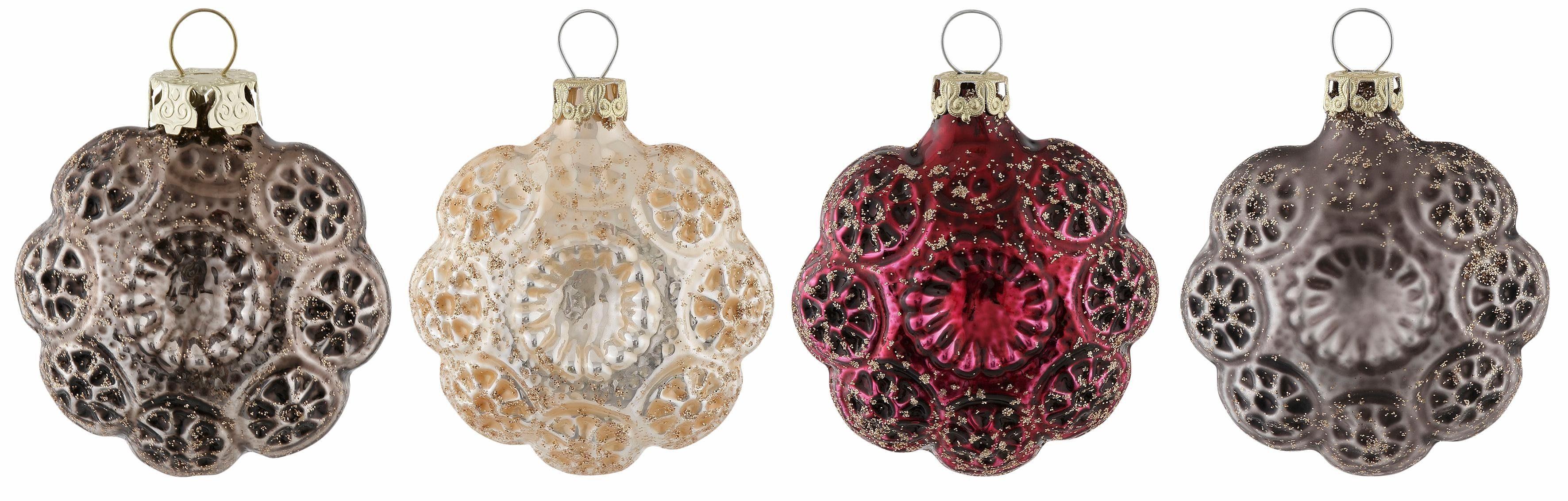 Thüringer Glasdesign TGS-Christbaumschmuck Blütenmedaillons, Made in Germany, (4-tlg.), »Marsala«