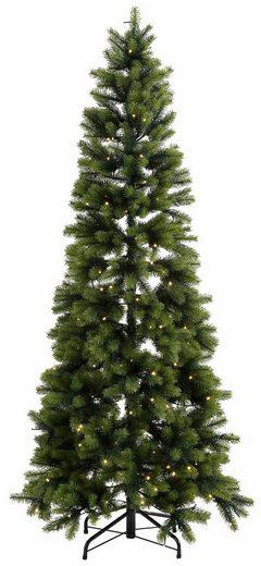 Künstlicher Weihnachtsbaum, in schlanker Form, mit LED-Lichterkette