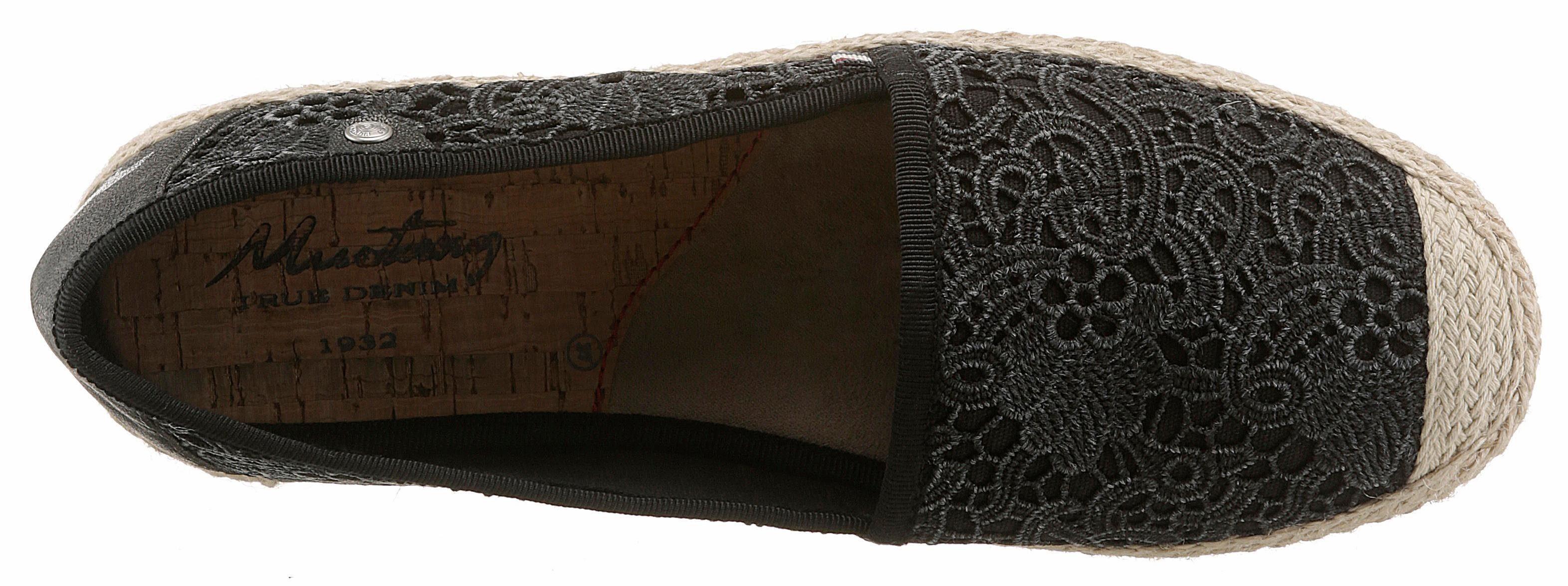 Billig &3878 Makramee-Optik Mustang Shoes Espadrille in Makramee-Optik &3878 9427a9