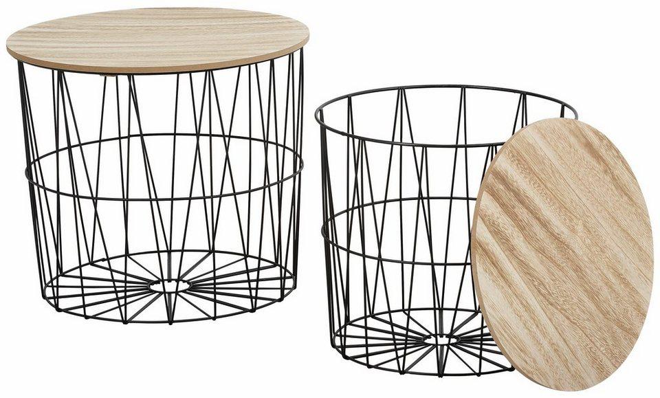 Beistelltisch metall holz  Beistelltisch, aus Metall und Holz, 2er Set kaufen | OTTO