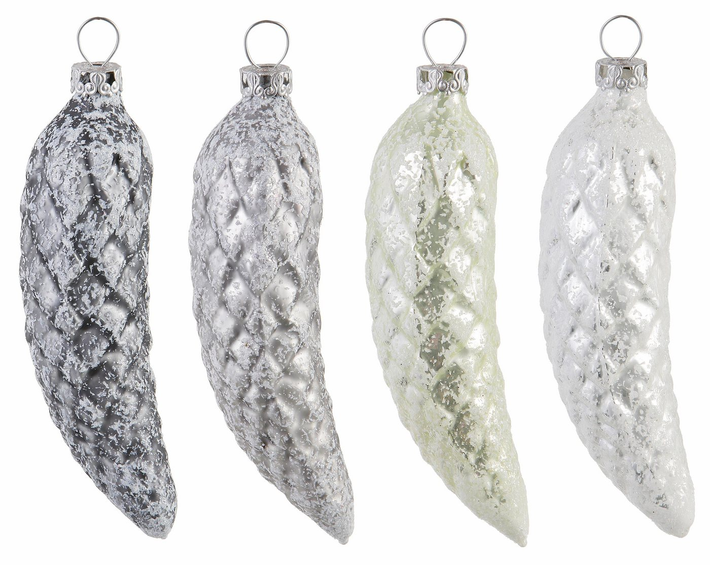 Thüringer Glas TGS-Christbaumschm.Tannenzapfen, Made in Germany, (4tlg.), »Frozen Christmas«