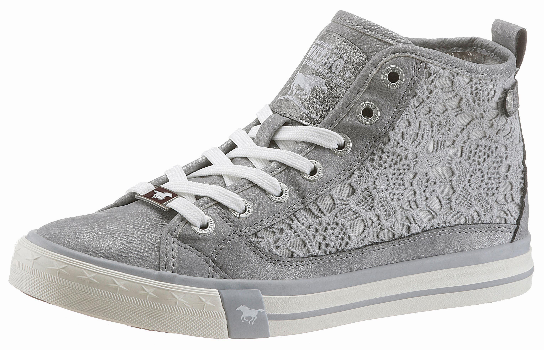 Mustang Shoes Sneaker, mit feinen Häkelapplikationen, weiß, 41 41