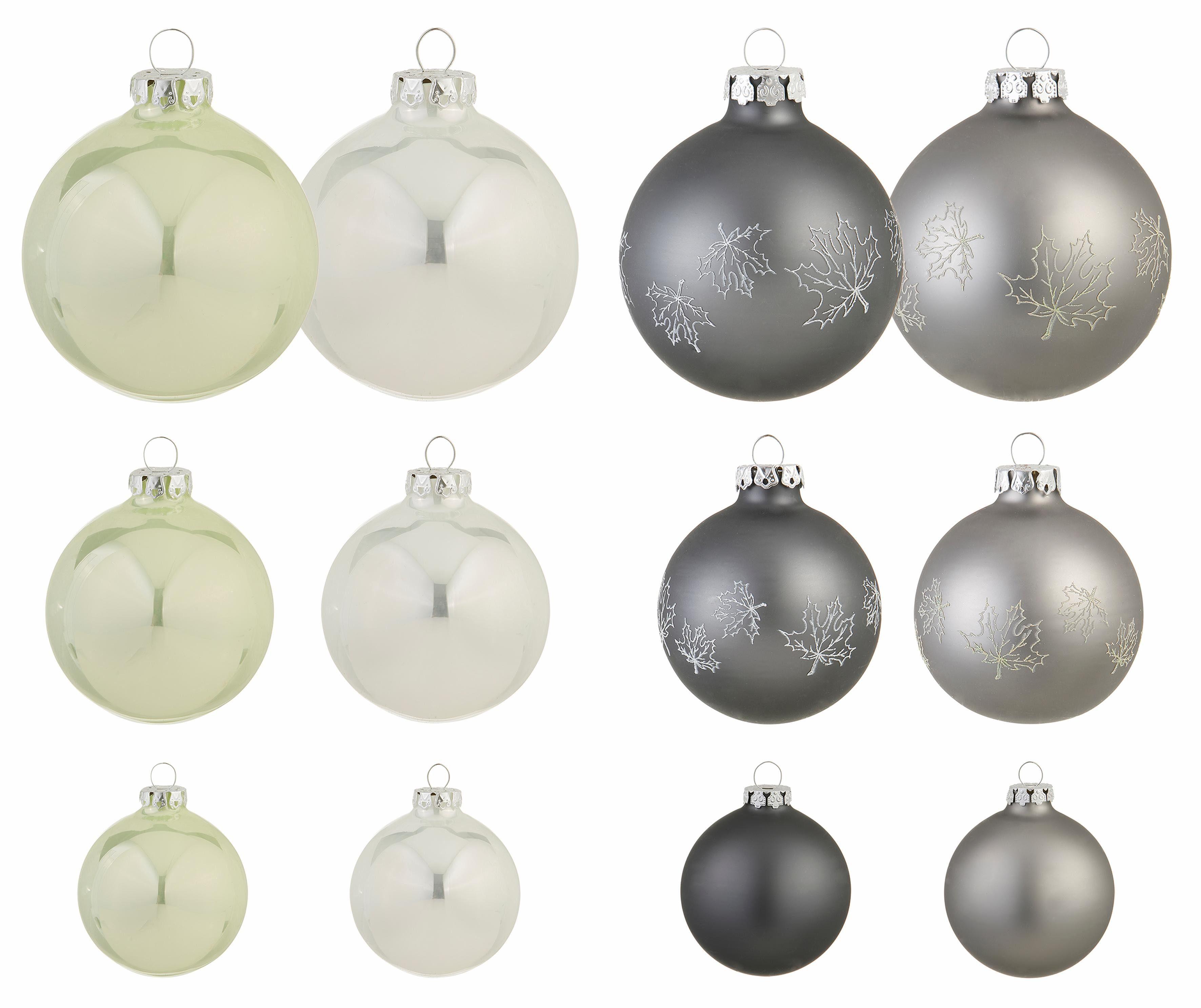 Thüringer Glasdesign TGS-Weihnachtskugeln, Made in Germany, (30-teilig.), »Frozen Christmas«