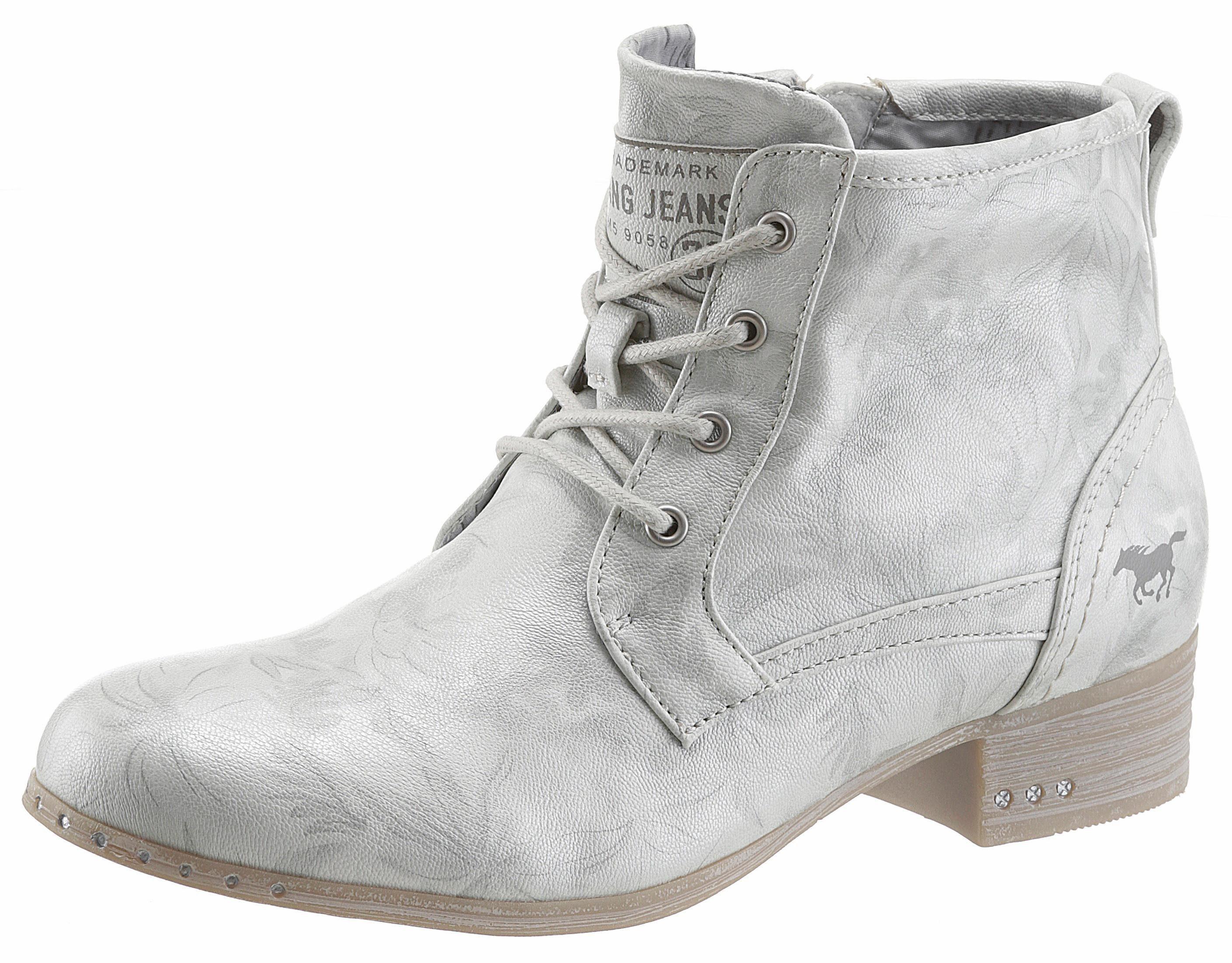 Mustang Shoes Schnürstiefelette, im coolen Used Look online kaufen  offwhite