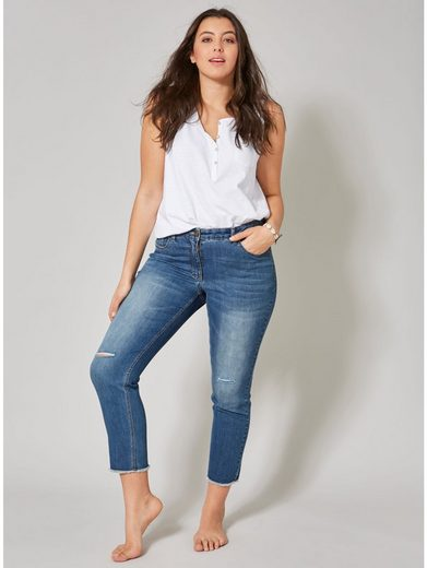 Angel of Style by Happy Size Slim Fit Jeans middle blue denim