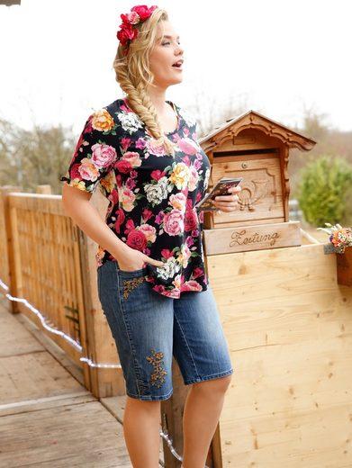 Janet und Joyce by Happy Size Trachten-Shirt mit Blumen-Print