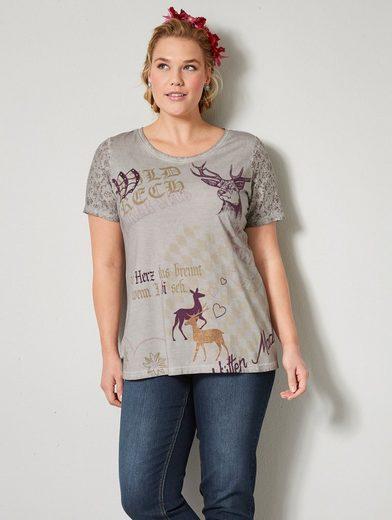 Janet und Joyce by Happy Size Trachten-Shirt oil wash mit Strass