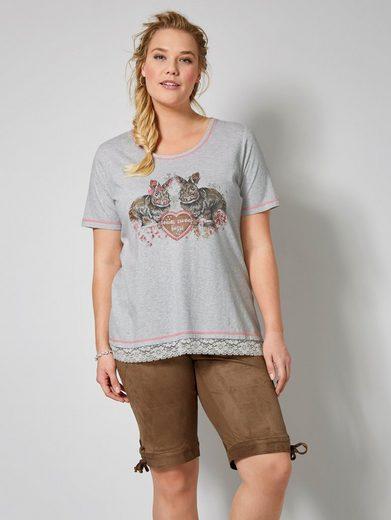 Janet und Joyce by Happy Size Trachten-Shirt mit Strass und Spitze