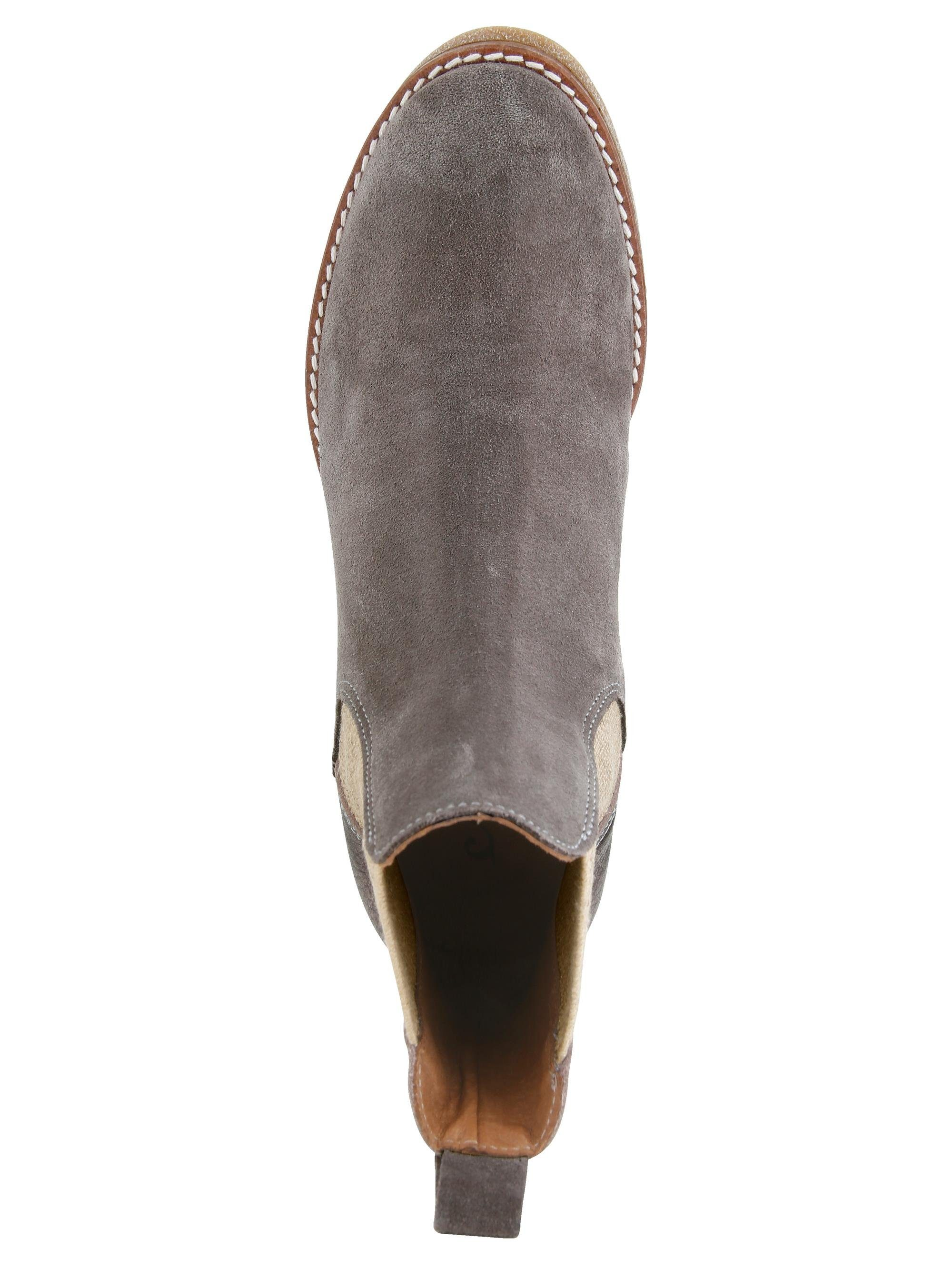 Alba Moda Chelsea-Boot in modischem Leder-Mix  taupe#ft5_slash#altsilber